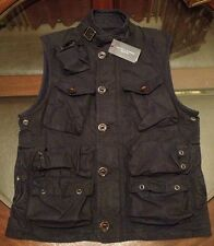 Ralph Lauren Combat Mens Oil Cloth Vest Sz SMALL New with Tags NAVY BLUE