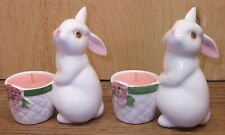 1 pair vintage 1980 Avon Bunny Rabbit ceramic Figurine Candle Holders & candles