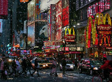 NEW YORK TIMES SQUARE BROADWAY Painting on Giclee Canvas Signed Impressionism