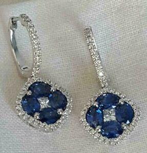 2.50Ct Oval Cut Blue Sapphire Diamond Drop Dangle Earrings 14K White Gold Finish