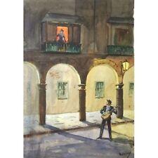 Holloway Mariachi TROVATORE SERENATA AL CHIARO DI LUNA SPAGNA dipinto ad Acquerello