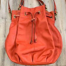 Authentic Coach Peyton Coral Leather Drawstring Bucket Bag Slouchy Handbag Purse