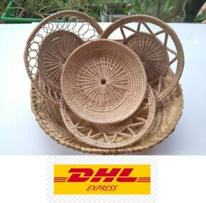 Baskets Wicker Rattan Bamboo Woven Tray Vintage Wall Decor Storage Round Lot 5