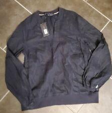 TOMMY HILFIGER Women's Linen Blouson-sleeve Blouse Shirt Top Navy Blue Small
