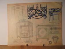ART DÉCO 1930 Rare Dessin Mobilier Architecture de Jean Fressinet Signé Cachet 3