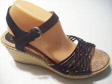 Born Black Leather Wicker Rattan Platform Sandals Heels Shoes Size 11 43 @cLOSeT