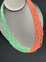 Vintage Boheniman Green Color Interesting  Seed Bead Multi Strand Long Necklace