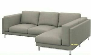 *New IKEA cover set for Nockeby 3-seat sofa with RIGHT chaise Teno Light Grey