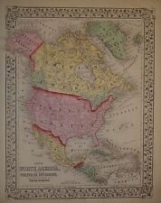Vintage 1871 North America Map Old Antique Color Original Atlas Map 72/012315