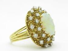 18k Yellow Gold & Diamonds Large Australian White Opal Vintage Estate Ring Gift