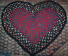 Vintage Antique Hand Handmade Folk Art Heart Shape Wool  Braided Rug