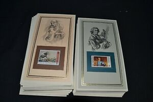 Art stamps collection of 100 different greatest artists stamps on special cards.