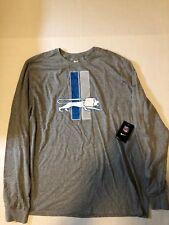 Nike DETROIT LIONS Blue on Gray Long Sleeve Tee T-Shirt ' Mens XXL