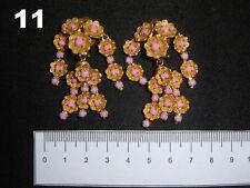 Orecchini clip vintage bigiotteria americana moda tono oro cascata di fiori rosa