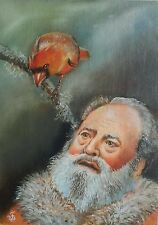 LATEST TWEET Hand Painted Santa Claus Portrait Northern Cardinal by JV 5x7in.