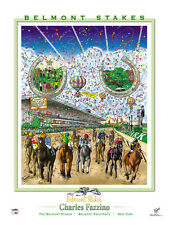 Belmont Stakes HORSESHOES Horse Racing Action Official POSTER by Fazzino