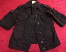 Women's Zara Black Cotton Safari Jacket Small (RN 77302)