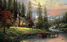 Large Framed Print - Hunters Cabin in the Woods (Picture Poster Forest River Art