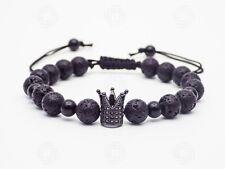 Mens Natural Black Lava Crown Bracelet Stone Reiki Power Beads Healing Gift UK