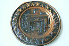 Vintage Copper Plate Home Fireplace Tools Oak leaves Acorns Scene Wall Hanging