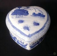 Ceramic Oriental Heart Shaped Trinket Box - Blue And White | FREE Delivery UK*