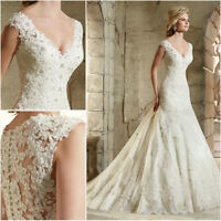 Mermaid Lace Wedding Dresses V Neck Sleeveless Applique White/Ivory Bride Gowns