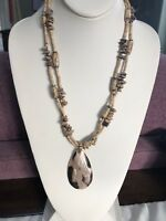 Mother Of Pearl Pendant Beaded Tan necklace