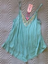 Candies V-Neck Tank Top XS Nile Blue Turquoise Cascade Beaded Bejeweled  NWT
