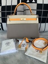 100% NIB Authentic Hermes Kelly 32 Sellier Bi-color Etoupe And Jaune D'or Epsom