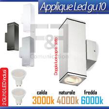 APPLIQUE LED DOPPIO GU10 3W 5W 7W SILVER BIANCO NERO QUADRATO DA ESTERNO INTERNO