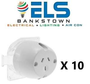 10 X Surface Sockets Plug Base BULK Electrical Outlet Fan Base for LED Downlight