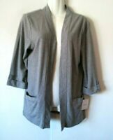 NEW WOMEN'S CROFT & BARROW GRAY OPEN FRONT DUSTER JACKET WITH POCKETS SIZE S