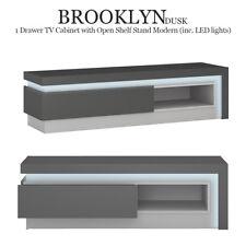 Brooklyn Dusk 1 Drawer TV Cabinet with Open Shelf Stand Modern (inc. LED lights)