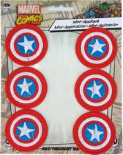 "89124 Captain America Shield Comic Superhero Iron On 1-3/8"" PATCH SET - 6 PACK"