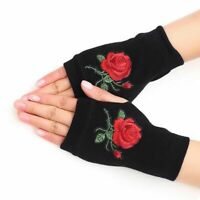 Women Winter Warm Fingerless Gloves Rose Fashion Knitted Wrist Warmer Mittens