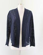 Tabitha Anthropologie Blue Floral Lace Open Front Cardigan / Blazer Jacket Sz S