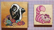 DISNEY Alice in Wonderland CHESHIRE CAT 970E04 & Flower 970-F03 Rubber Stamp