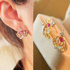 Fashion Colorful Crown Women Lady Elegant Crystal Rhinestone Ear Stud Earrings