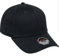 BRAND NEW BLACK OTTO CAP HAT FLEX FIT S/M ADULT SZ FITTED CURVED BILL FITTED