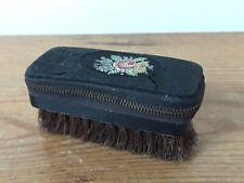 Vintage Western Germany Travel Hair Brush Manicure Set Leather Zip Dopp Kit