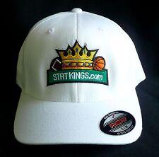 STAT KINGS STATKINGS.COM White Flexfit Hat/Cap (Sz S/M Small/Medium) Yupoong NEW