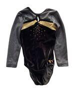 GK ELITE Competition LEOTARD ADULT XS Gold BLACK VELVET GYMNASTICS DANCE BLING