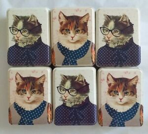 🐱 BRAND NEW SASS AND BELLE VINTAGE PORTRAIT STYLE CAT TINS x6 - SIZE 7 x 10 cm