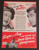 1942  Original Magazine Ad Movie Cary Grant Ginger Rogers Once Upon a Honeymoon
