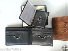 Men Bi-Fold Wallet by ROLFS black premium leather Organizer Photo Id new in box