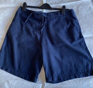 ladies Navy Linen shorts Next size 14