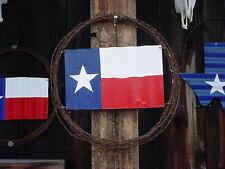 "TEXAS  FLAG WALL DECOR RUSTIC BARB WIRE WREATH BARN TIN FLAG 22"" ART DECOR"