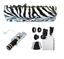 Selfie Stick Cell Phone Lens Kit n Accessory Pouch. (colors may vary)