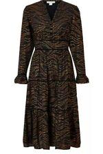 Monsoon Mara Foil Print Tiered Dress UK 22 Black Copper Bnwt