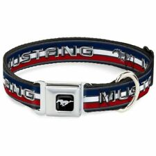 Buckle-Down Mustang Logo Red White and Blue Large Seatbelt Buckle Dog Collar
